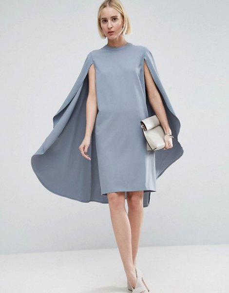 grey mock neck cape midi dress white heels
