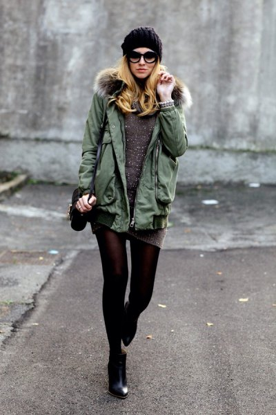 grey parka jacket knit sweater dress