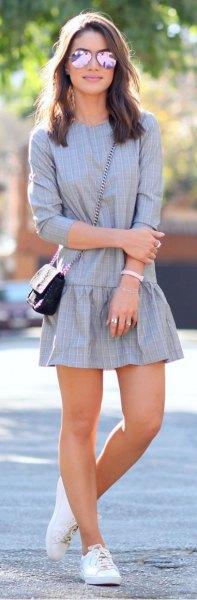 grey plaid drop waist mini dress