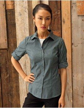 grey slim fit denim shirt black chinos