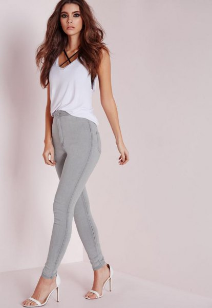 grey stretch skinny jeans white chiffon vest top