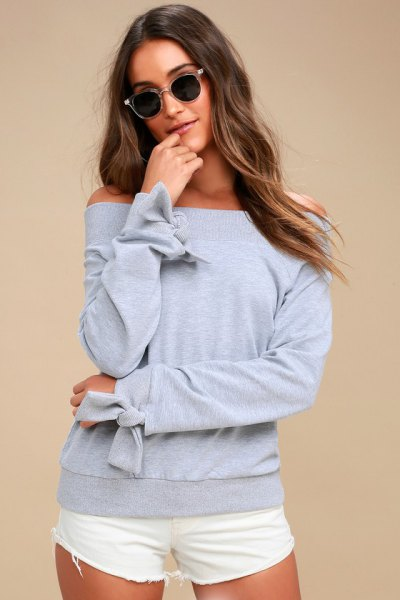 grey sweatshirt ribbon details