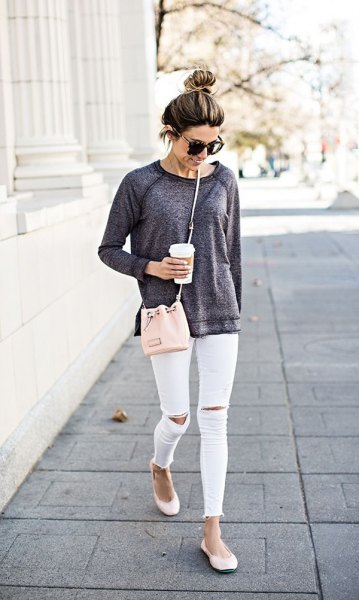 grey sweatshirt white ankle jeans
