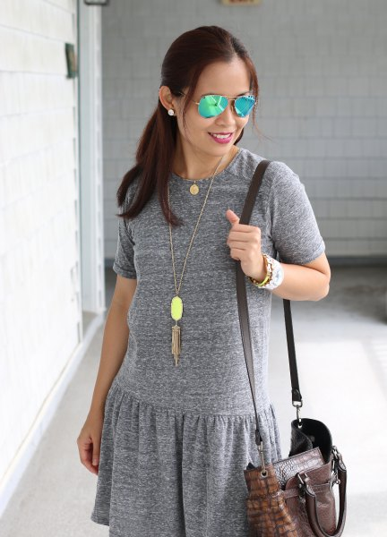 heather grey dress boho style long necklace