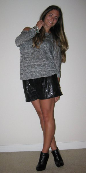 heather grey sweater black sequin shorts