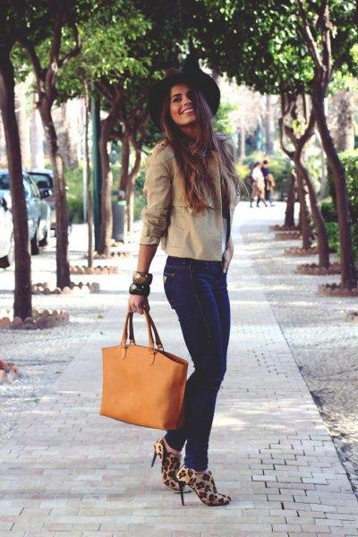 heeled leopard print boots ivory blouse felt hat