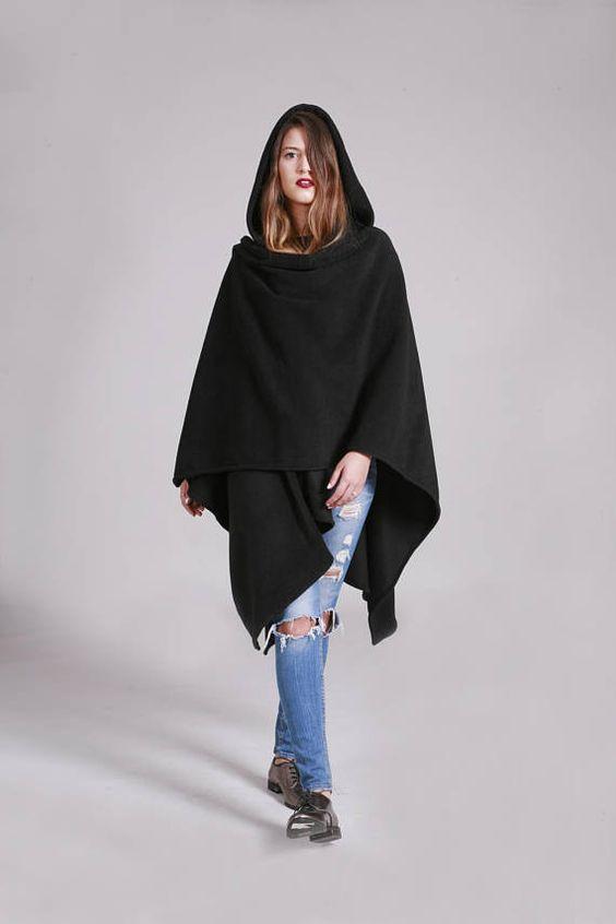 hooded poncho black