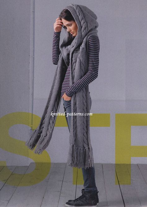 hooded scarf dark grey