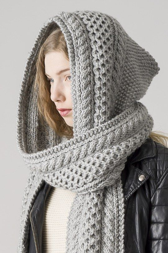 hooded scarf grey