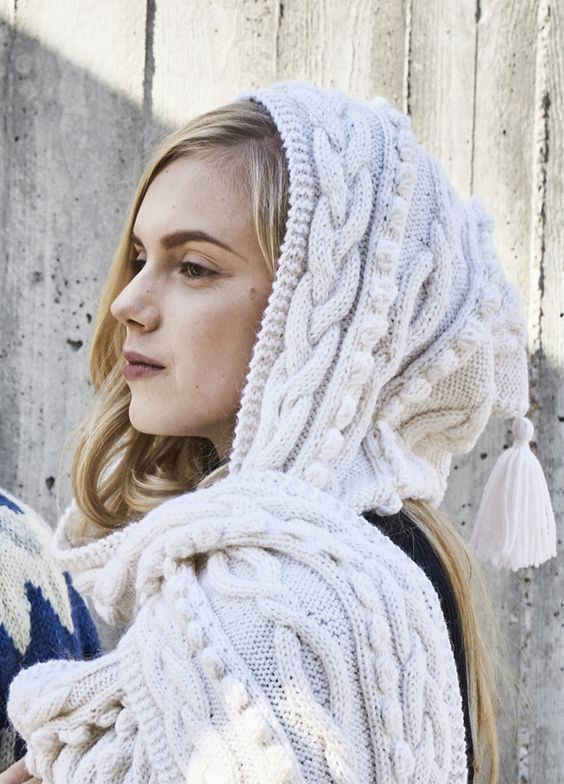 hooded scarf white
