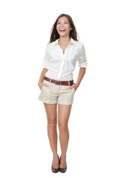 ivory khaki shorts with white button up shirt