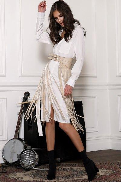 ivory leather fringe belt white knee length shirt dress