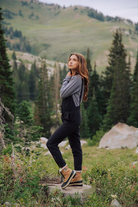 leather hiking boots overall jumpsuit