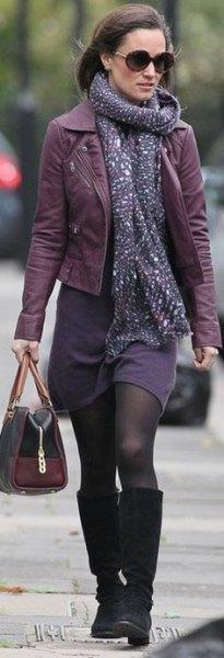 leather jacket purple shift dress scarf