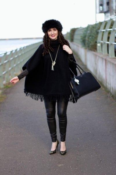 leather pants black faux fur hat