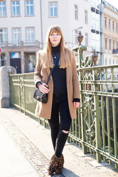 leopard print ankle boots crepe wool coat