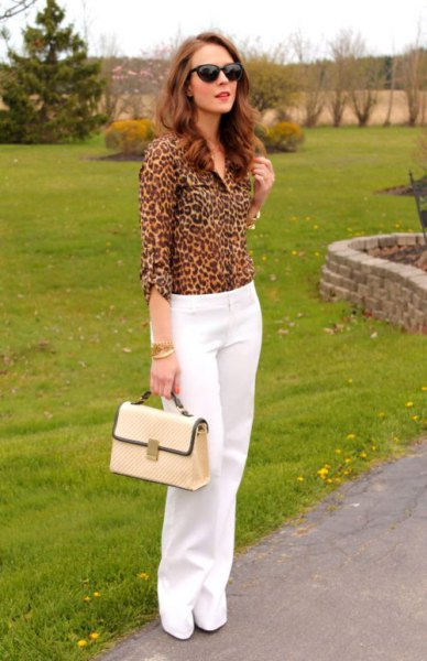 leopard print button up shirt white wide leg chinos
