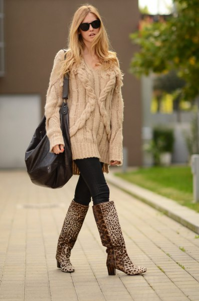 leopard print knee high boots crepe chunky cable knit sweater
