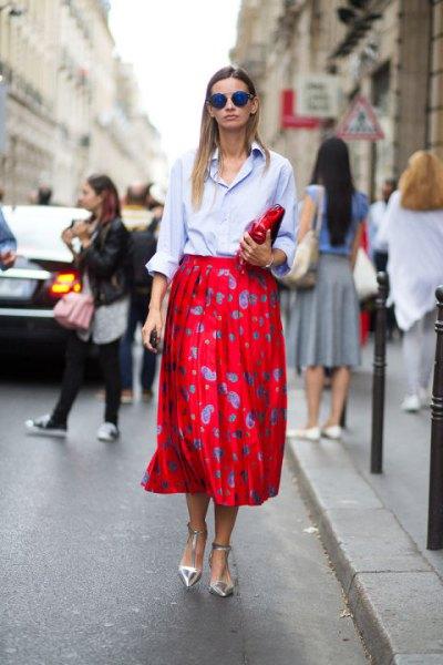 light blue button up shirt red polka dot midi skirt