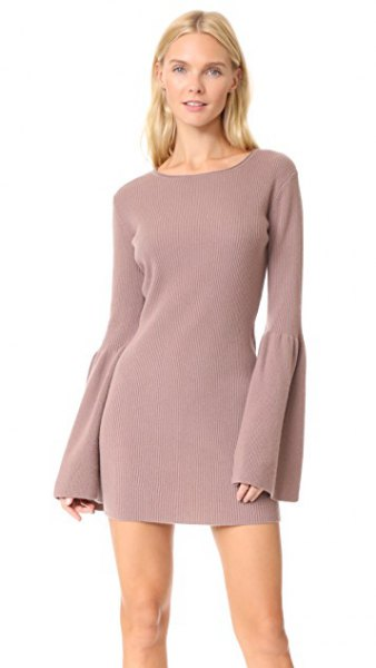light grey bell sleeve mini cashmere dress