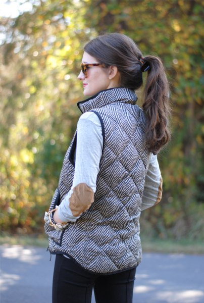 light grey elbow patch sweater quilted vest
