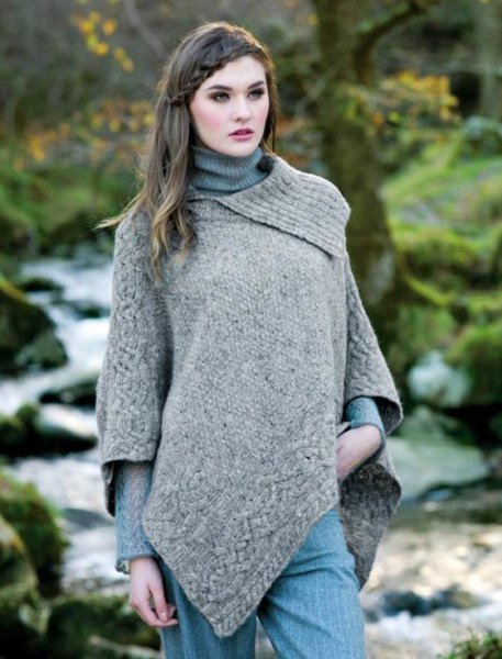 light heather grey wool poncho over ribbed knit sweater