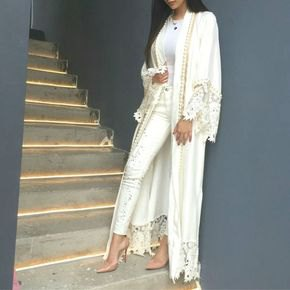 long lace kimono all white outfit