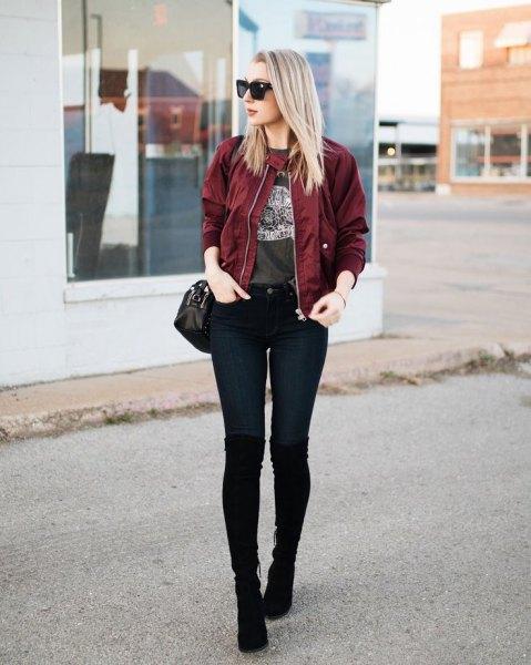 maroon bomber jacket green print tee black jeans