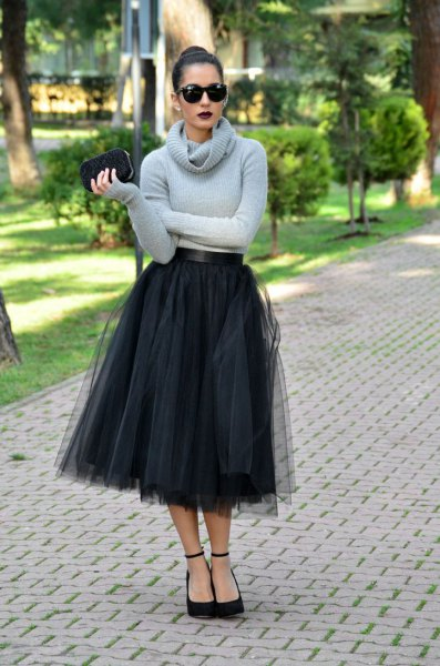 midi black tulle skirt grey cowl neck sweater