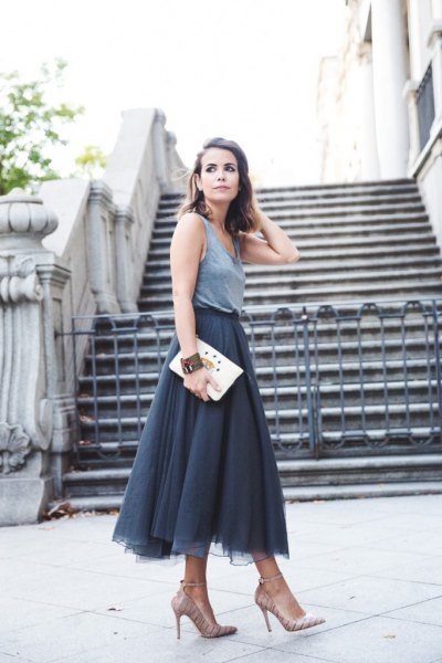 midi tulle skirt grey vest top