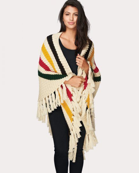 multi colored striped knit fringe wrap all black outfit