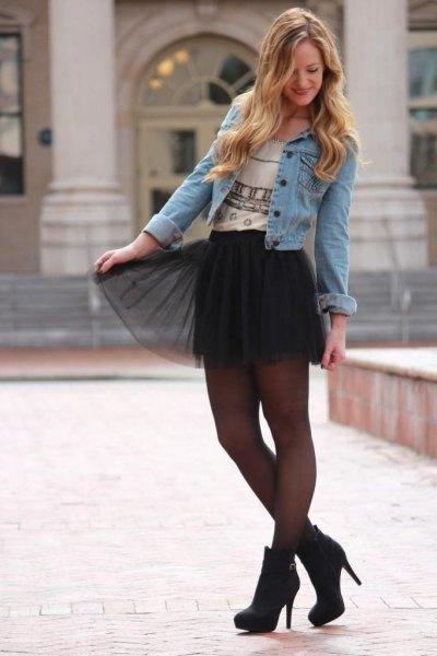 tulle skirt with denim jacket