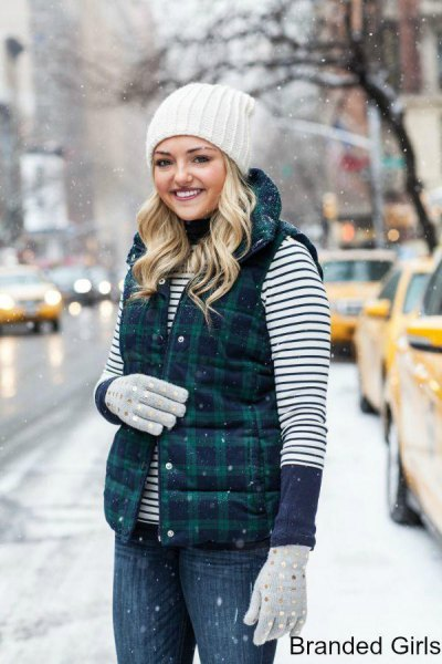 navy and green plaid vest striped tee