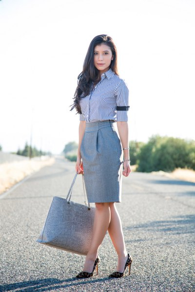 navy and white pinstripe shirt grey pencil skirt