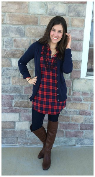 navy cardigan knee high boots