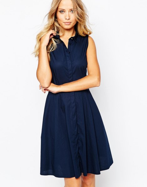 navy knee length flared sleeveless shirt dress