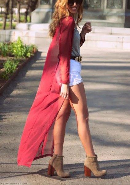 neon pink maxi chiffon cardigan white mini shorts