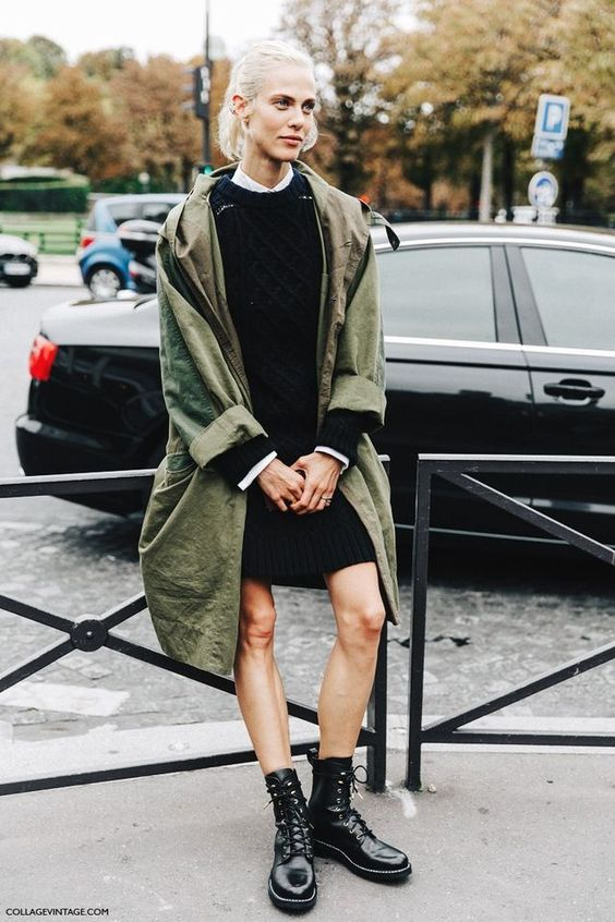 olive green jacket long knit dress