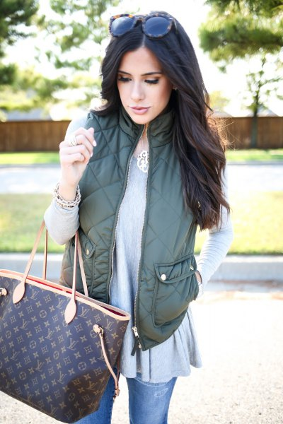 olive green vest grey tunic top