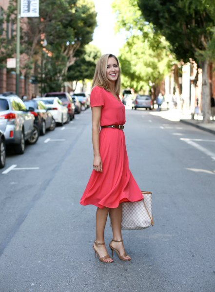 orange belted flared midi dress