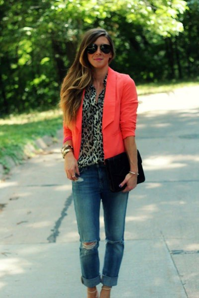 orange blazer ripped boyfriend jeans