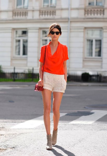orange cowl neck blouse white crochet shorts