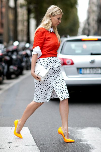 orange fitted knit sweater polka dot skirt yellow heels