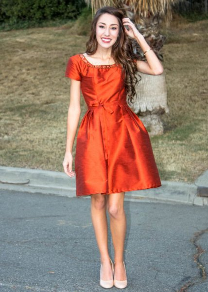 orange silk skater dress silver sequin neckline