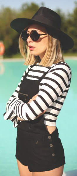 overall shorts cropped black and white striped long sleeve tee