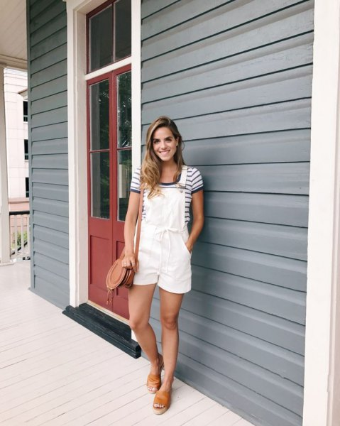 overall shorts navy and white striped t shirt