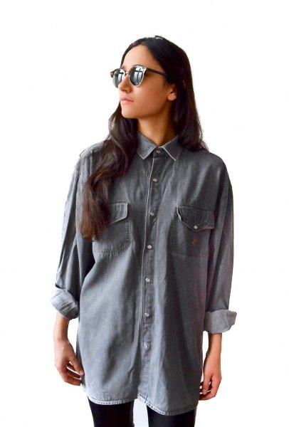 oversized grey denim shirt black skinny jeans