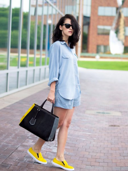 oversized light blue blouse linen shorts