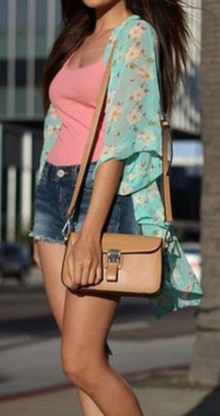 pale blue floral chiffon cardigan pink scoop neck vest top