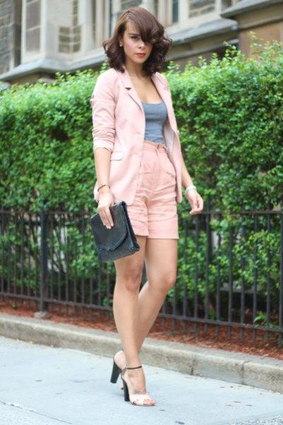 pale pink blazer high waisted linen shorts